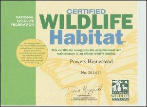 Certified Wildlife Habitat certificate