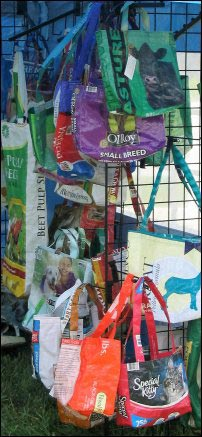 recycled pet food bag tote bags, Fiber Fairs, selling fiber products, where to sell handmade yarn, Fiber festivals, Selling animal fibers