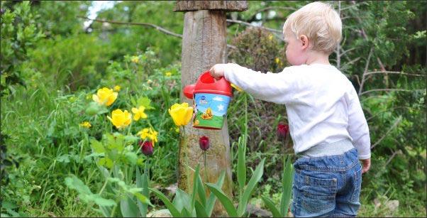 child watering a garden, raising kids in the country, country kids, raise country kids,keeping country kids safe around guns, kid friendly chickens, homesteading, homestead