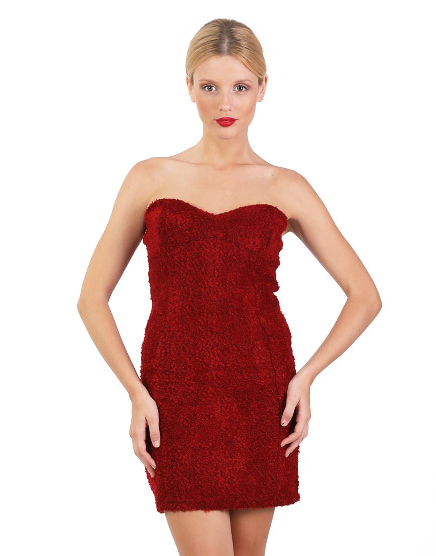 Κόκκινο στράπλες μπουκλέ πλεκτό εφαρμοστό φόρεμα 6269406  5501e8cf974