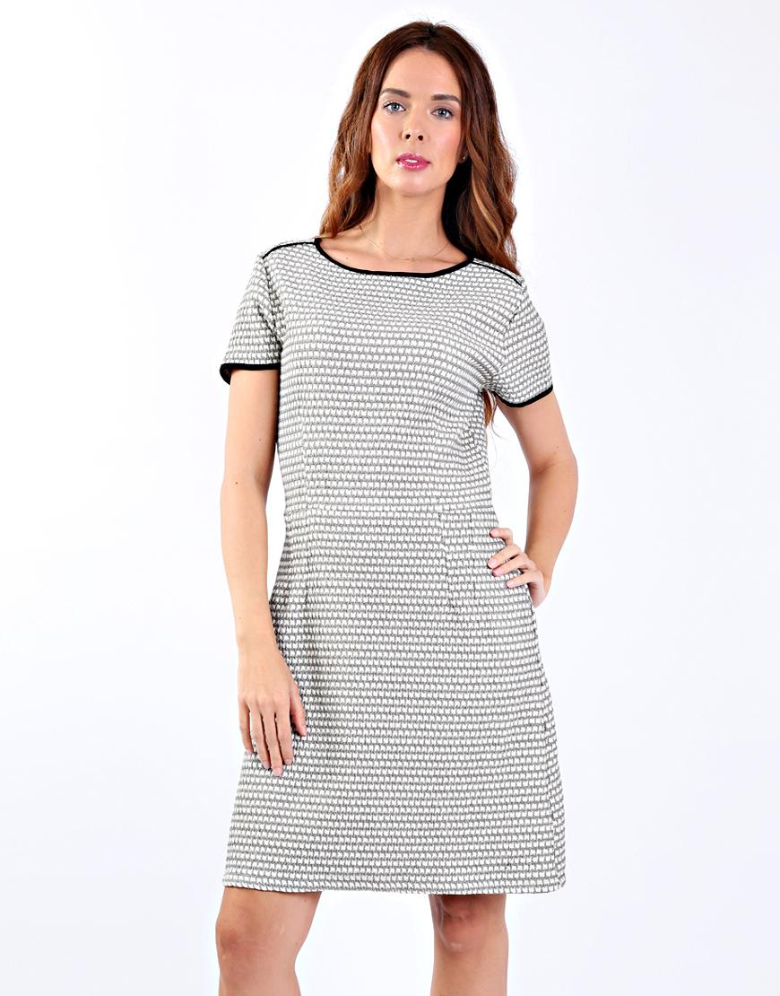 66c290172cb7 Εκρού και μαύρο καρό μίνι φόρεμα 6271555