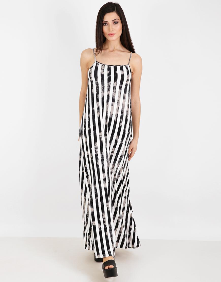 d15bc5c4ee9c Ριγέ μάξι φόρεμα με τιράντες 6271658
