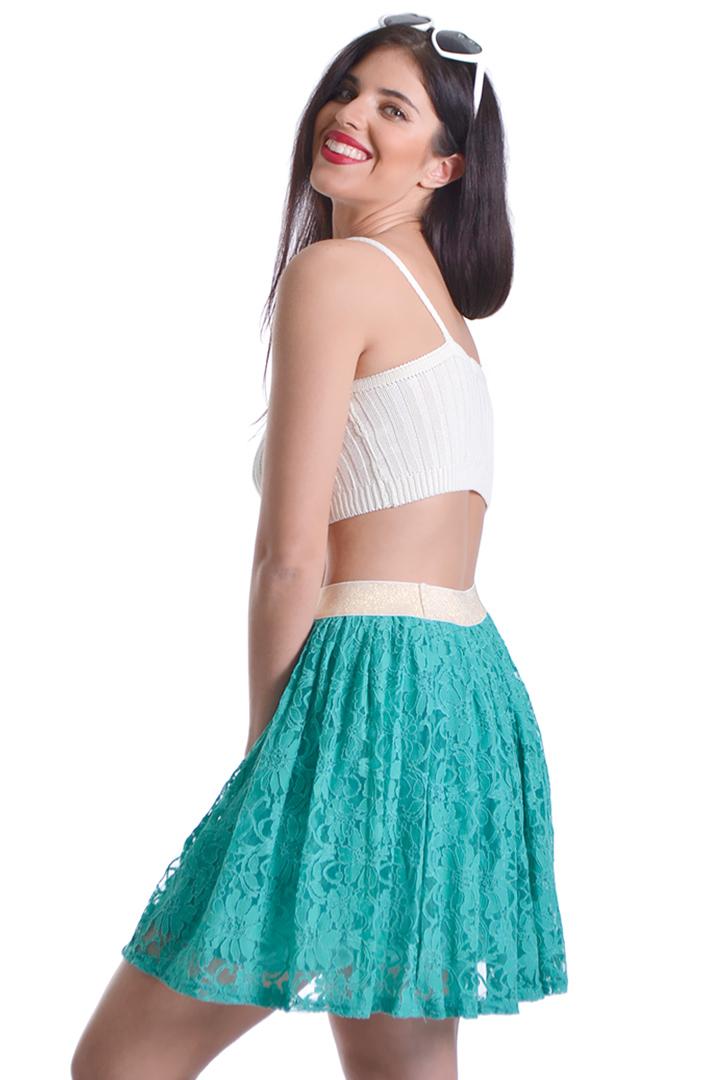 097896c7ab7 Πράσινη skater φούστα δαντέλα 6244681