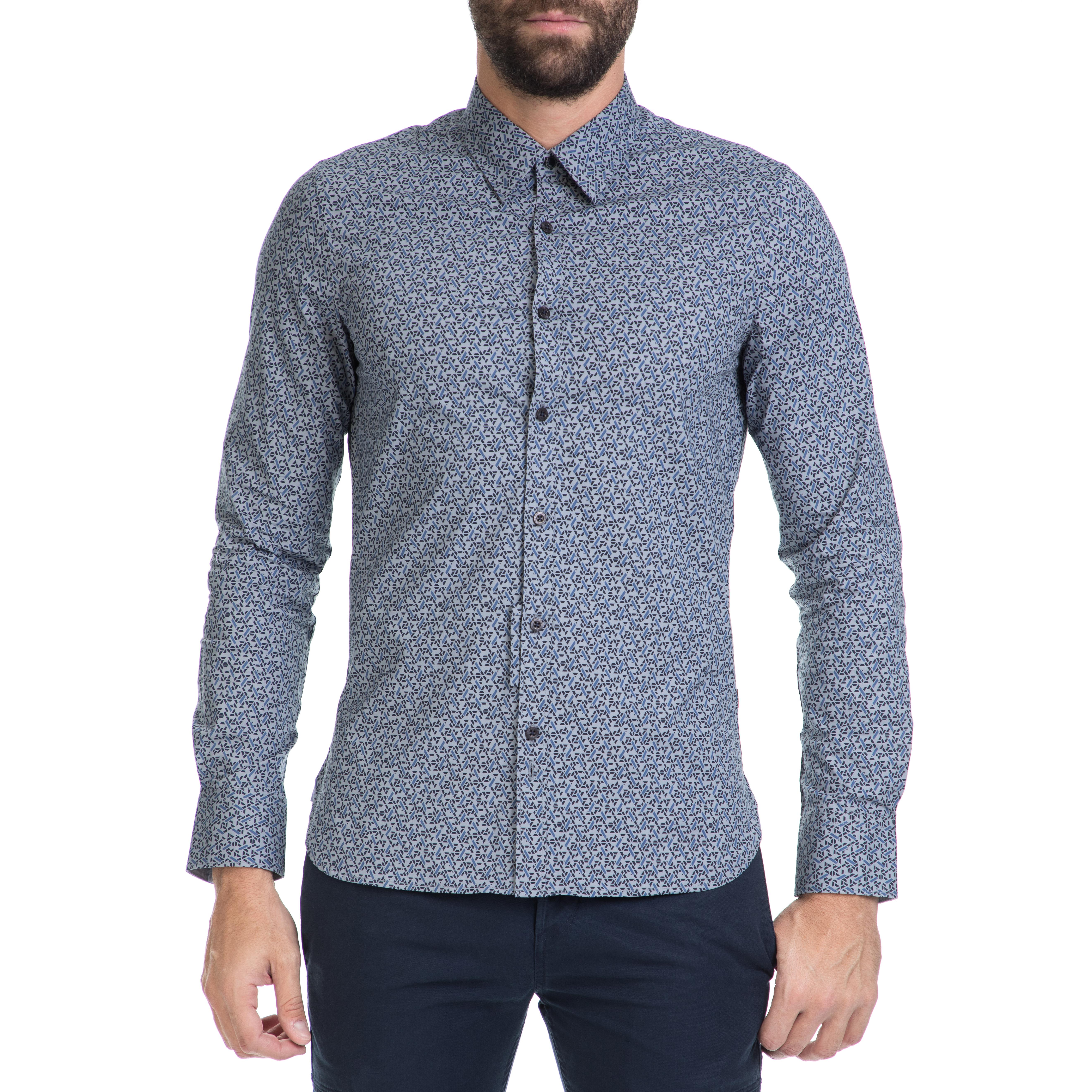 f9bafb79f685 GUESS - Ανδρικό πουκάμισο SUNSET GUESS γκρι-μπλε