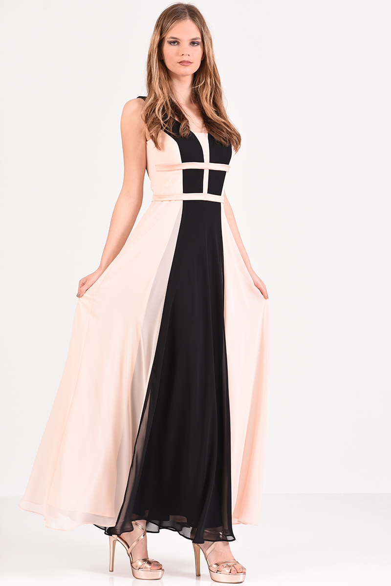 8357cbefb66 Φόρεμα μακρύ με ανοιχτή πλάτη σε σομόν μαύρο χρώμα 6270042