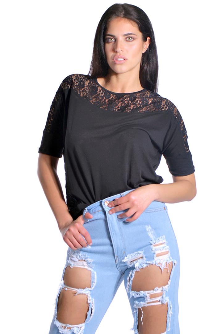 Μαύρη ασύμμετρη μπλούζα με δαντέλα 6244787  e7794c77b23