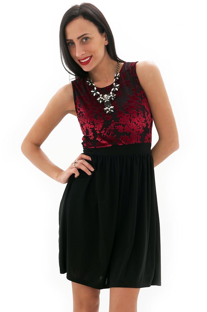 3095b00e3f93 Μαύρο φόρεμα με μπορντό βελούδινο τοπ 6245788