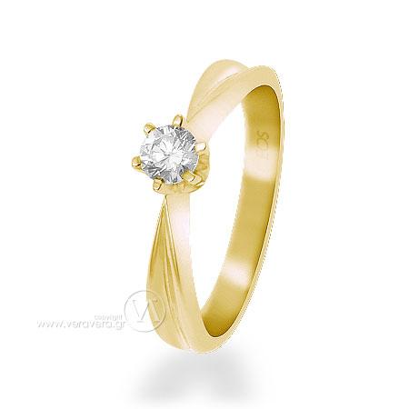 Μονόπετρο δαχτυλίδι από κίτρινο χρυσό Κ18 με ένα διαμάντι σε κοπή μπριγιάν c035432cb93