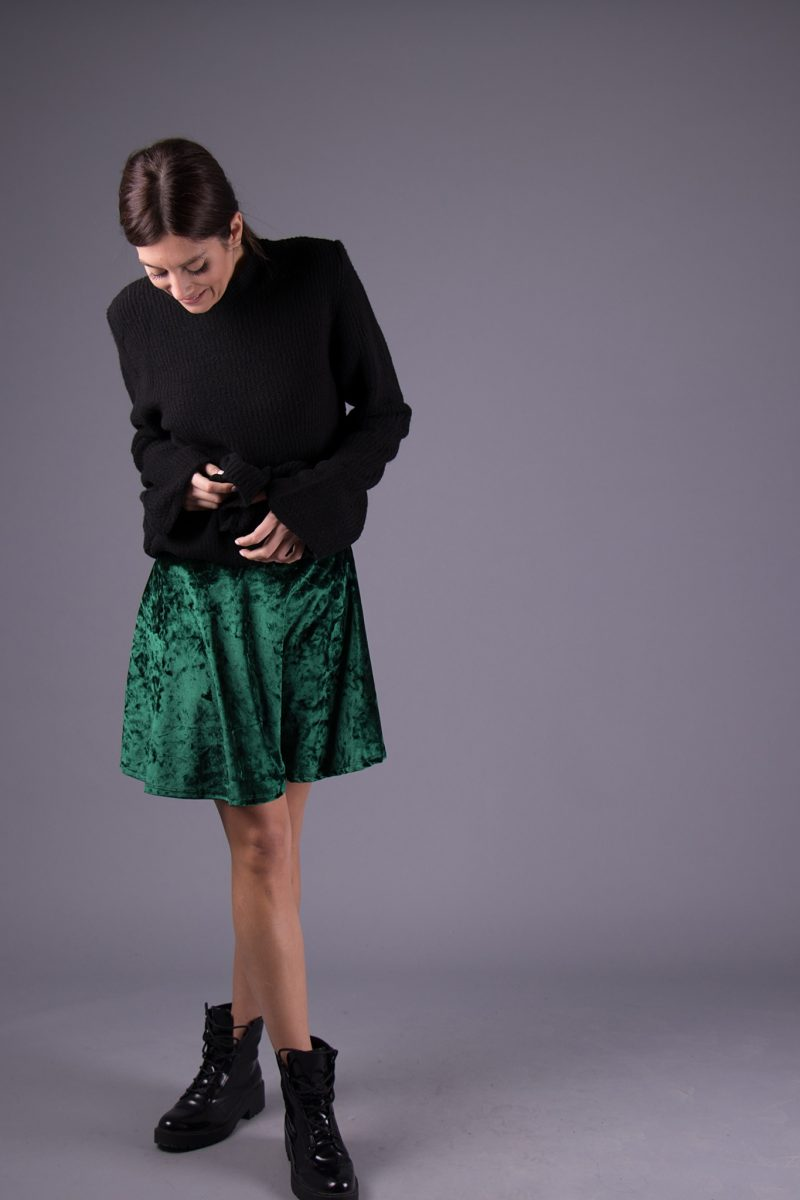 7a37435639b2 Πράσινη μίνι βελούδινη φούστα 6283383