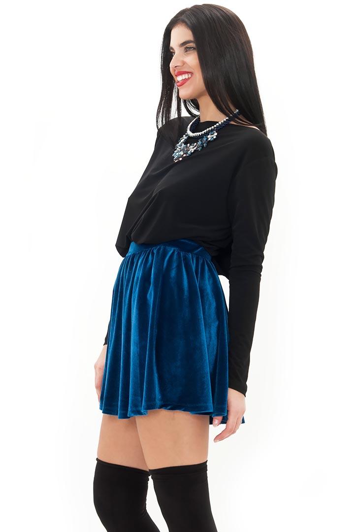 3a8f474eaacb Premium βελούδινη μπλε φούστα 6245790