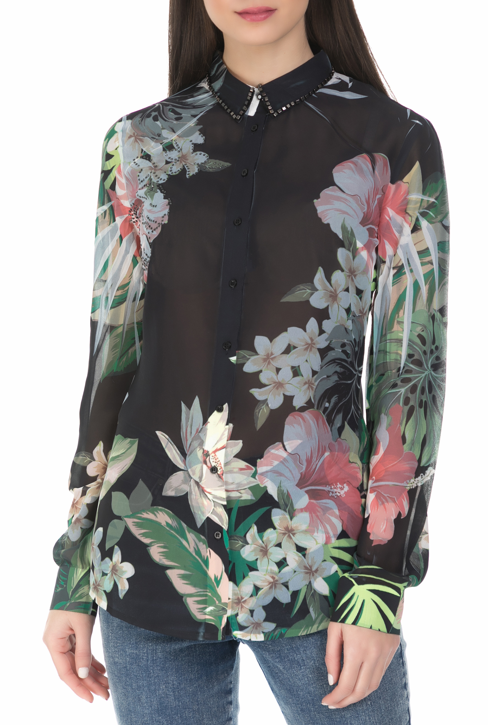 05aac822fcf GUESS Γυανικείο μακρυμάνικο φλοράλ πουκάμισο Guess μαύρο 6207475 ...