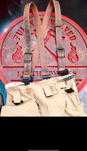 Custom Rustic Brown Leather X-Back Fire Suspenders