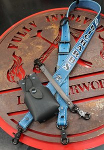 Blue Custom Handmade Leather Radio Strap with Anti-Sway Strap And Radio Case