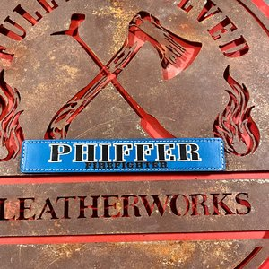 Blue Custom Leather Locker Tag