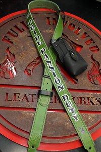 Green Custom Handmade Leather Radio Strap with Anti-Sway Strap And Radio Case