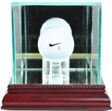Golf Ball Display Case w/wood base and glass top, mirrored back and base