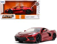 2020 Chevy Corvette C8 Stingray Big Time Muscle in 1:24 scale Candy Red Diecast Car Model