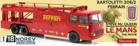 Fiat Bartoletti Ferrari Transporter Steve McQueen LeMans Movie Diecast in 1:18 Scale by Norev
