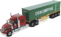 International LoneStar Sleeper Red with Skeletal Trailer in 1:50 scale by Diecast Masters