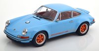 SINGER Porsche 911 (964) COUPE IN LIGHTBLUE and ORANGE in 1:18 Scale by KK