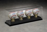 4-Ball Baseball Display Case + Gold Glove