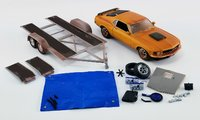 1970 Ford Mustang Boss 429 w Car Trailer, Barn Find Boss Diecast Model by Acme in 1:18 Scale