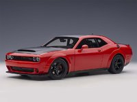 Dodge Challenger Demon SRT Tor Red w Black Graphics in 1:18 Scale by AUTOart