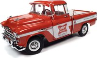 1957 Chevy Cameo Pickup Miller High Life in 1:18 scale by Auto World