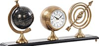 Armillery/Clock & Globe On Wood Base by Old Modern Handicrafts