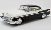1956 Chrysler New Yorker St. Regis - Cloud White & Raven Black in 1:18 Scale By Acme