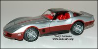 1982 Corvette in dark claret/silver in 1:24 scale by The Franklin Mint