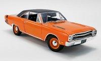 1969 Dodge Dart GTS 440 - Orange w Black Vinyl Top Diecast Model by Acme in 1:18 Scale