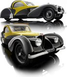 Bugatti Atalante Type 57SC Black and Yellow Model Car by Bauer in 1:12 Scale