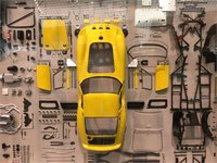 Ferrari 250 GTO in Yellow parts display board in 1:18 Scale by CMC