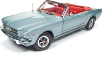 1965 Ford Mustang Convertible Silver Smoke Grey Diecast Model in 1:18 Scale by Auto World