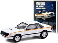 """1980 Ford Mustang """"Introducing A Sports Car For The 80's. Ford Mustang"""" in 1:64 scale by Greenlight"""