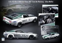 #33 Brut 1969 Ford Boss 302 TransAm Mustang Resin Model by Real Art Replicas in 1:18 Scale
