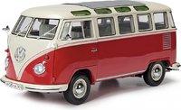 VW T1 Samba Red w Beige Diecast Model in 1:32 Scale by Schuco