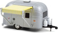 Airstream 16' Bambi with Yellow and White Awning in 1:64 scale by Greenlight
