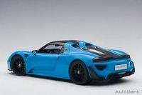 Porsche 918 Spyder  Weissach Package Riviera Blue by AUTOart in 1:18 Scale