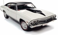 "1968 Chevy Chevelle SS Hardtop ""Nickey Performance"" in white 1:18 scale by AutoWorld"