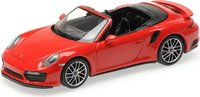 2017 Porsche 911 (991.2) Turbo S Cabriolet in RED in 1:43 Scale by Minichamps