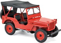 1942 JEEP WILLYS Red Diecast Model in 1:18 Scale by Norev