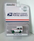 1979 Jeep DJ-5 USPS truck with green wheels in 1:64 scale by Greenlight