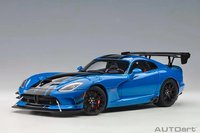 2017 Dodge Viper ACR Blue with Black Stripes in 1:18 Scale by AUTOart