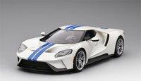 Ford GT Frozen White w/ Lightning Blue Stripe in 1:18 Scale by Topspeed