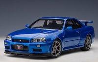 NISSAN SKYLINE GT-R (R34) V-SPEC II (BAYSIDE BLUE) in 1:18 scale by AUTOart