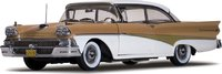 1958 Ford Fairlane 500 HardTop White/Tan in 1:18 Scale by Sunstar