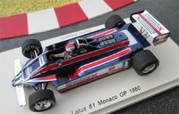 1980 Lotus 81 #11 Monaco GP Mario Andretti Model Car in 1:43 Scale by Spark