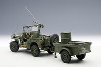 Jeep Willys in Army Green w Trailer and Accessories Model Car by AUTOart in 1:18 Scale